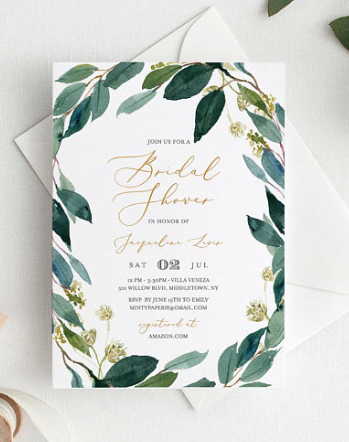 greenery shower invitations