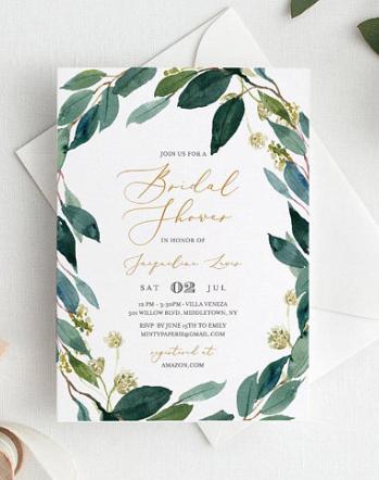 greenery shower invitations