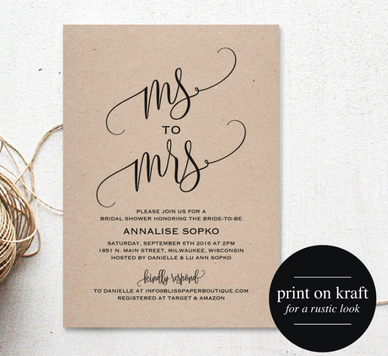 kraft bridal shower invite rustic
