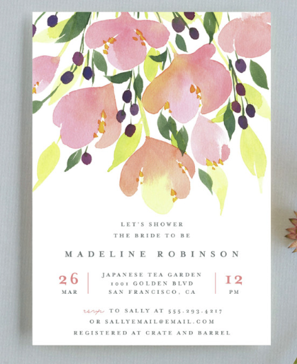 pastel wedding shower invitation
