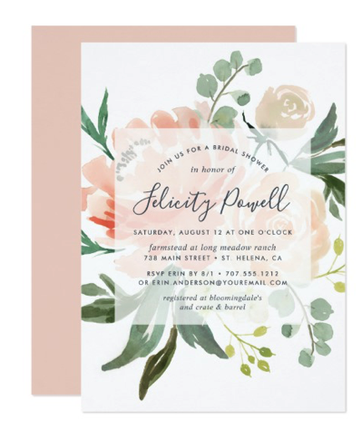peach and green shower invitation