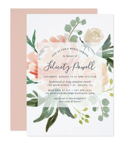 peach and green shower invitation
