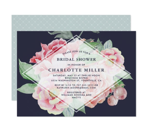 moody floral bridal shower invitation