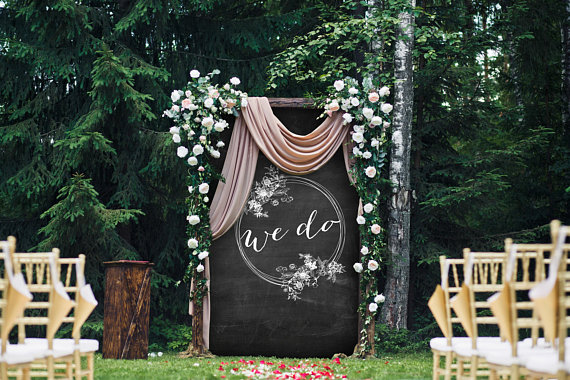 """We Do"" backdrop by Custom Party Store (find the link below!)"
