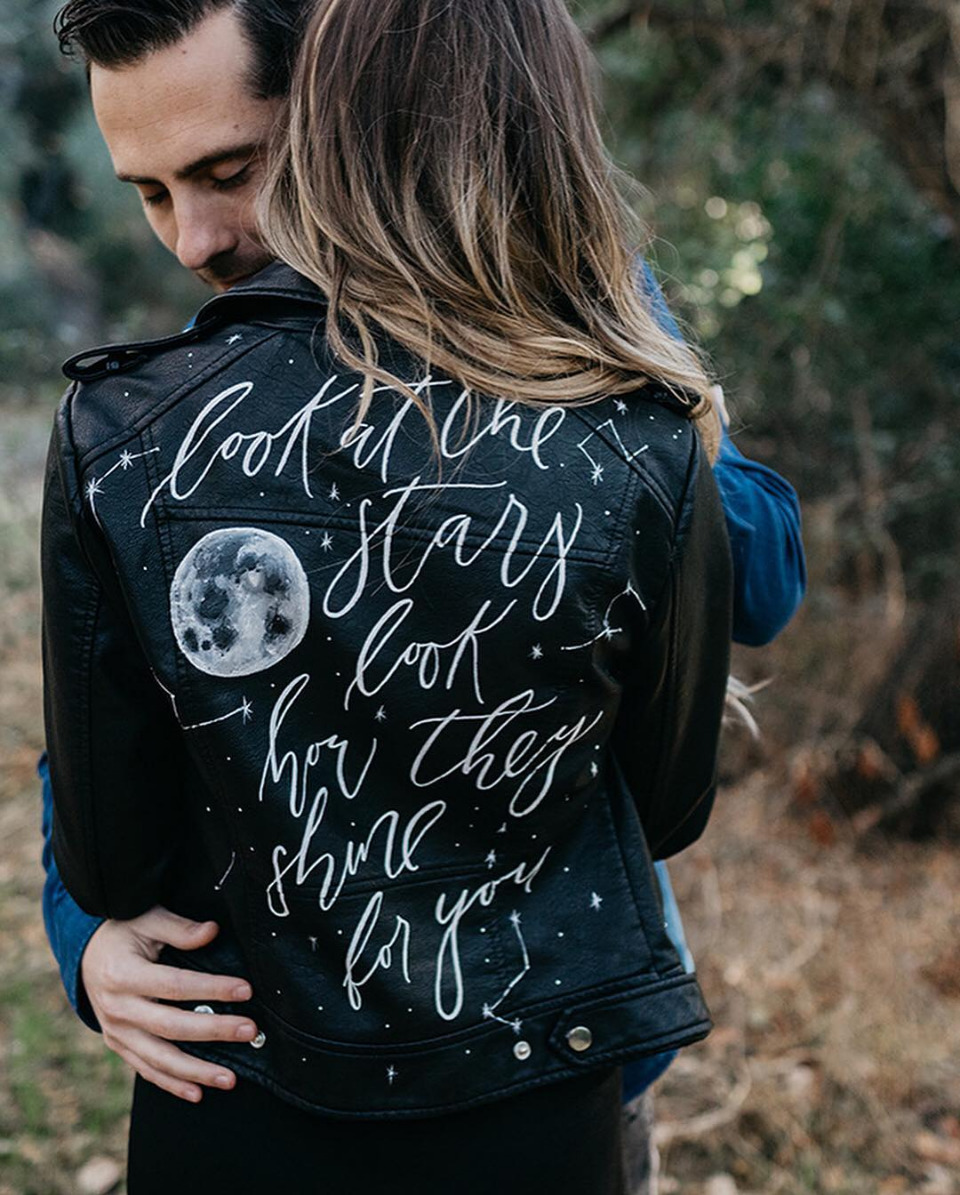 calligraphy leather jacket