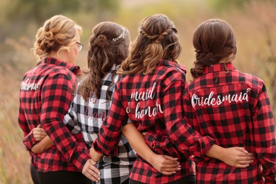 bridesmaid flannel shirts