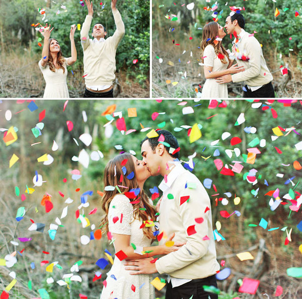 confetti wedding photos