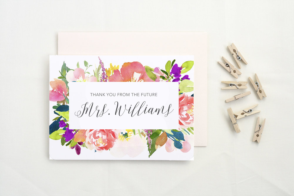 Future Mrs. Thank Yous - There's nothing that'll make you more grateful than writing it down. These cards even feature your future last name, so you can get even more excited about your big day.