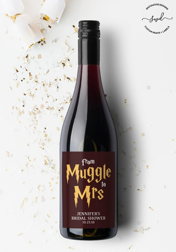 How to Throw a Harry Potter Wedding - Wine Label by Spotswood Designs - #wedding #harrypotter #always #muggletomrs