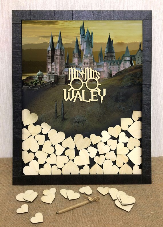 How to Throw a Harry Potter Wedding - Guest book by Super Duper Gifts - #wedding #harrypotter #always #muggletomrs