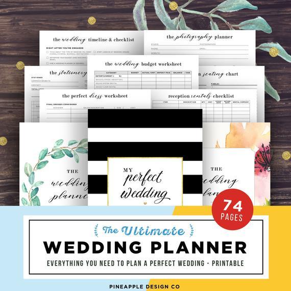 10 Wedding Planners to Keep Your Sanity - Planner by Pineapple Design Co - #weddings #weddingplanning #weddingplanners