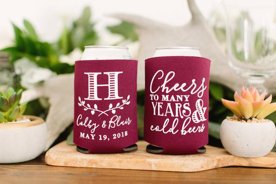 Planning a Burgundy & Dusty Blue Wedding - Coozies by Sip Hip Hooray - #wedding #maroonwedding #dustybluewedding
