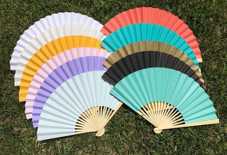 14 Gorgeous Ideas for an Outdoor Summer Wedding - Paper Fans by Wedding Parasols - #weddings #summerwedding #outdoorwedding #summer
