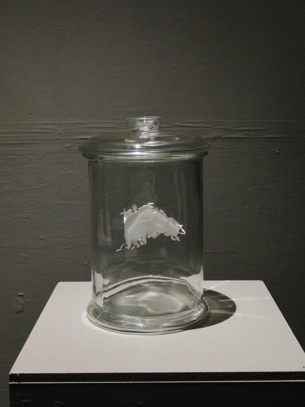 Sweet wrapper in bell jar, octagon 2013