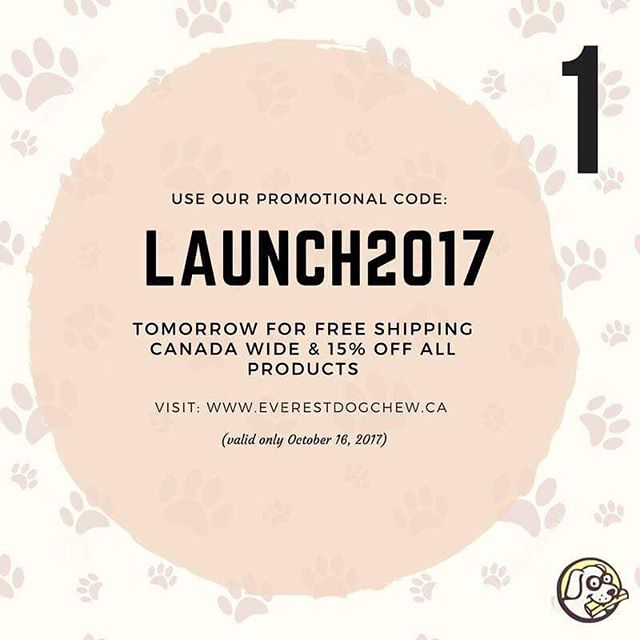 "Mark your calendars! Our website officially launches tomorrow, where you can purchase our #pawesome dog chews! Enter the #promocode ""LAUNCH2017"" for free shipping Canada wide and for 15% off (valid only October 16, 2017, EST)! #everestdogchewlaunch2017  #himalayantreat #dogsgiving #puppy #love #husky #goldenretriever #pug #dog #dogtreats #organic #dogfood #healthydogchews #dogtreats #dogsofinstagram #dogsofinstagram #dogsoftoronto #dogsofcanada #puppylove #dogchews"