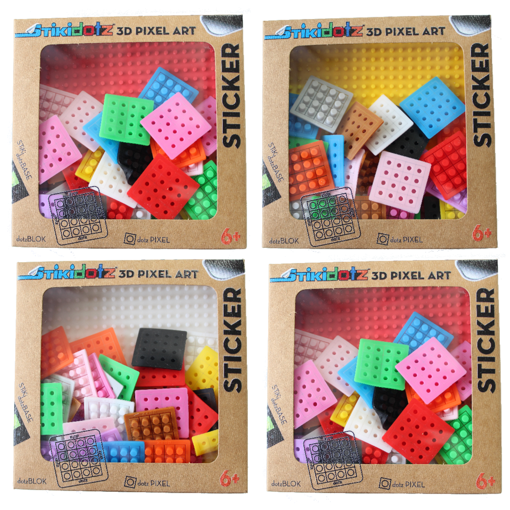 "Starter Pack 4 Color Choices Available Create your own STiKidotz 3D Pixel Art Sticker.  Choose your color of 2 Medium STiKidotz Bases (21 x 21 pixels / 3.5"" x 3.5""), comes with 36 Multicolor dotzBLOKs (576 dotzPIXELS) MSRP $9.99 Available at Amazon"