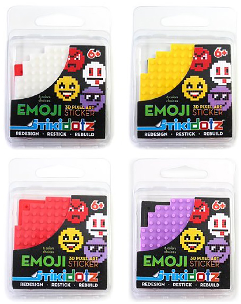 Emoji STiKidotz   8 Color Choices Available  Create your own Emoji Stickers with these colorful Emoji STiKidotz Pixel Art sets. Includes 1 STiKidotz Emoji, and 4 dotzBLOKs (2 Black and 2 Red).   MSRP: $3.49     MORE INFORMATION      Available at Amazon