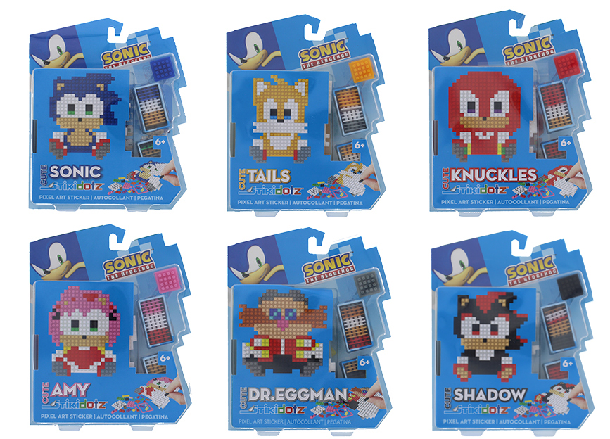 CUTE Sonic Series 6 Character Choices One of a kind Cute Sonic 3D PIxel Art Stickers. Collect them all: Sonic, Tails, Knuckles, Amy,Dr. Eggman, or Shadow. Each Package includes one cute sonic STiKidotz character and all the dotzBLOK needed to create this cute Sonic. As with all STiKidotz products, you can redesign, rebuild and restick the sticker over. MSRP: $14.99 Available at Amazon