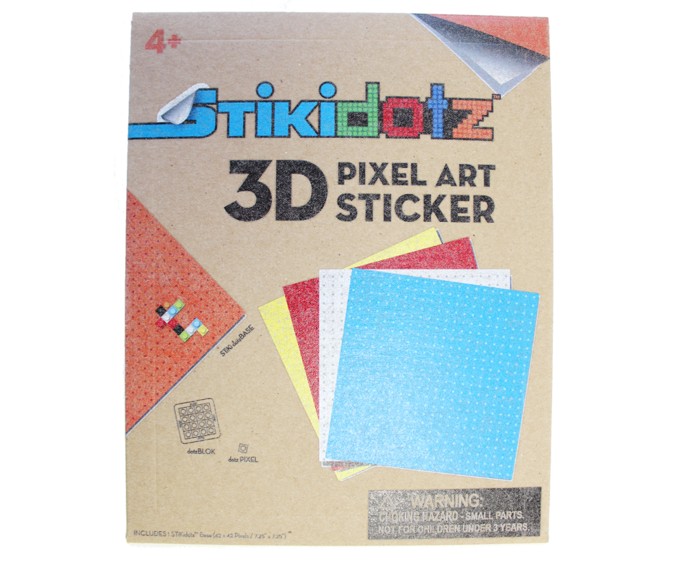 "Large STiKidotz Base 8 Color Choices Available Create your own STiKidotz 3D Pixel Art Sticker.  Choose your color of 1 Large STiKidotz Base (42 x 42 Pixels / 7.25"" x 7.25""), DotzBLOKs sold separately. MSRP $14.99 Available at Amazon"