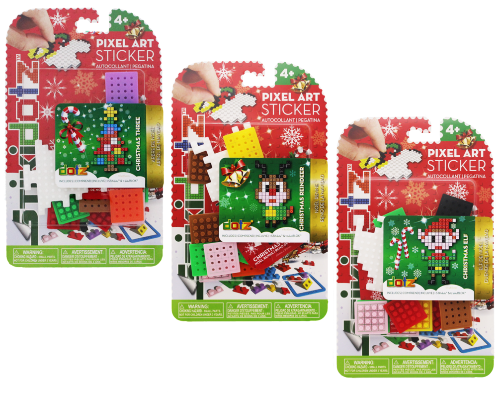 Christmas STiKidotz Series Just in time for the holidays, these pixel art stocking stuffers make a great gift. Choose from a number of different characters or designs, each one comes with 1 STiKidotz sticker and all the dotz needed to create it.As with all STiKidotz products, you can redesign, rebuild and restick the sticker over. As with all STiKidotz products, you can redesign, rebuild and restick the sticker over. MSRP: $6.99 Available at Amazon