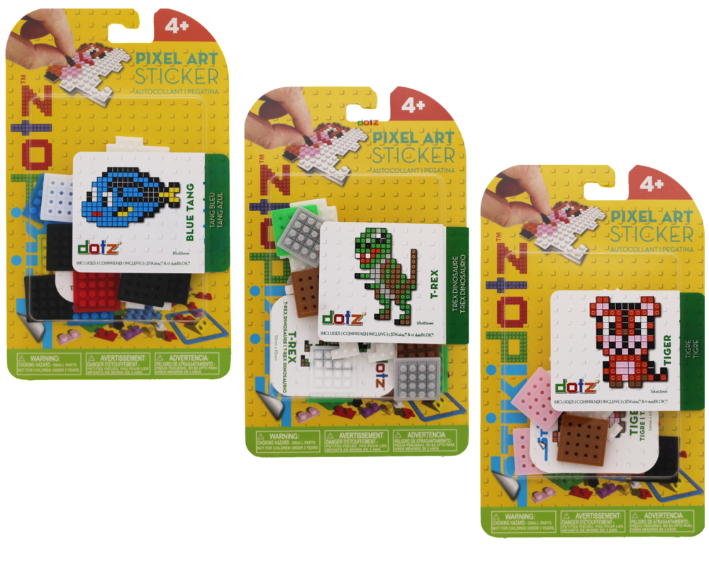 Animal STiKidotz Series Choose from a variety of different animal themed characters. Each one comes with 1 STiKidotz sticker and all the dotz needed to createthe 3D Pixel Art Sticker.As with all STiKidotz products, you can redesign, rebuild and restick the sticker over. As with all STiKidotz products, you can redesign, rebuild and restick the sticker over. MSRP: $6.99 Available in 2018