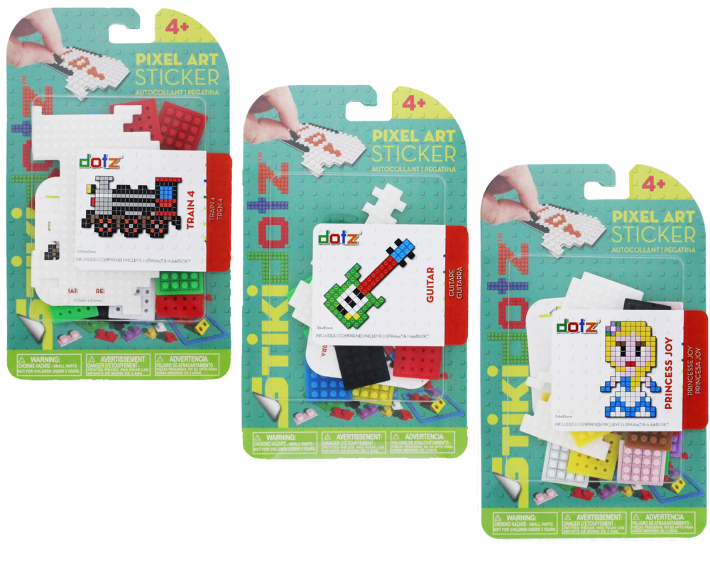 FunPAK STiKidotz Series Choose from a variety of different fun characters and designs. Each one comes with 1 STiKidotz sticker and all the dotz needed to create the 3D Pixel Art Sticker.As with all STiKidotz products, you can redesign, rebuild and restick the sticker over. As with all STiKidotz products, you can redesign, rebuild and restick the sticker over. MSRP: FROM $6.99 Available in 2018