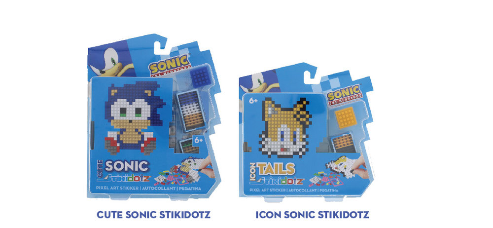 CUTE and ICON Sonic Series   13 Character Choices  One of a kind Cute Sonic 3D PIxel Art Stickers. Collect them all:  CUTE Sonic, Tails, Knuckles, Amy,Dr. Eggman, or Shadow. ICON Sonic, Tails, Amy, Super Sonic, Dr. Eggman, Shadow or Knuckles   Each Package includes one STiKidotz SONIC character and all the dotzBLOK needed to create it. As with all STiKidotz products, you can redesign, rebuild and restick the sticker over.   MSRP:$12.99 /  $14.99     MORE INFORMATION      Available at Amazon