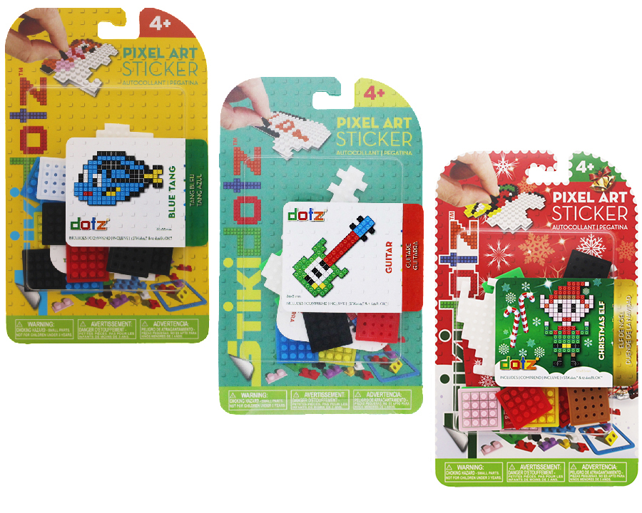 Themed STiKidotz Series   Choose from a variety of themed characters in 3 different series: Animal, FunPak and Christmas. Each package comes with 1 precut STiKidotz sticker and all the dotz needed to create the 3D Pixel Art image as seen on the package cover. As with all STiKidotz products, you can redesign, rebuild and restick the sticker over and over.    MSRP Starts from $5.99     MORE INFORMATION     Available Soon!