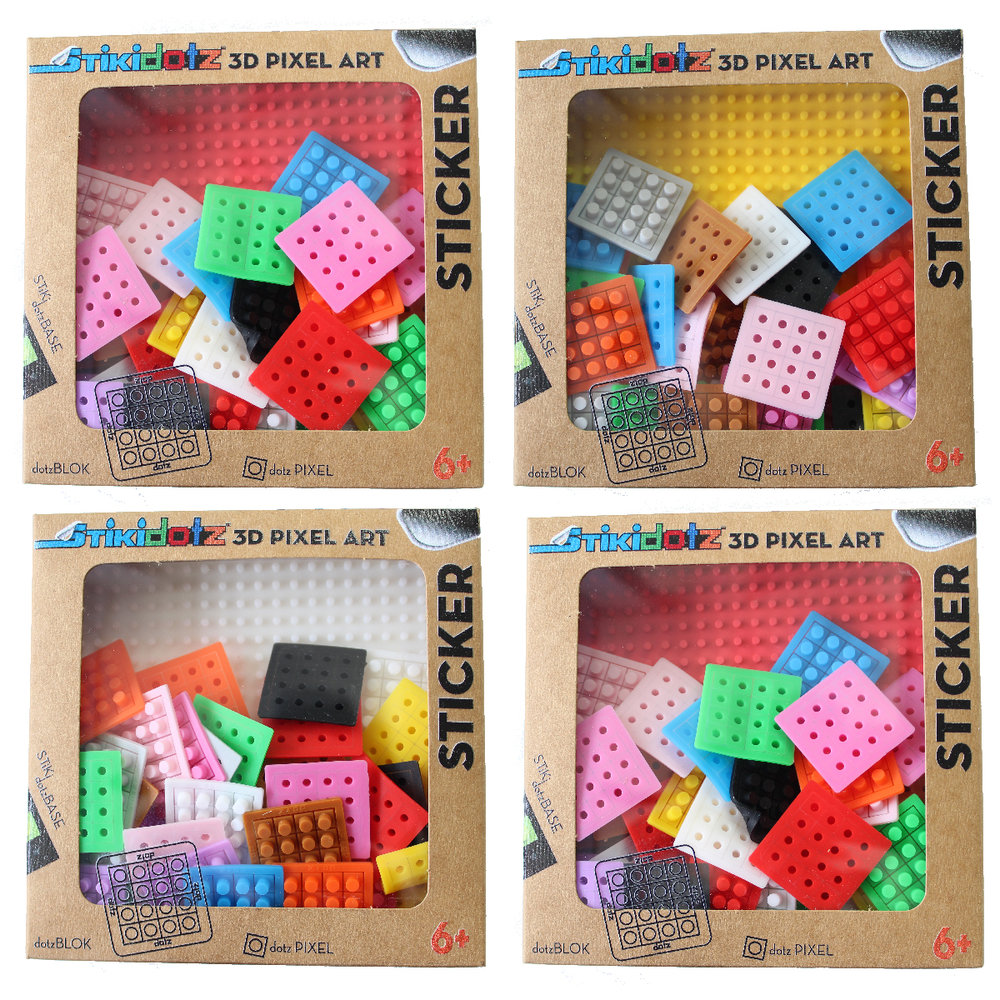 "Starter Pack   8 Color Choices Available  Create your own STiKidotz 3D Pixel Art Sticker.   Choose your color of 2 Medium STiKidotz Bases (20 x 20 pixels / 3.5"" x 3.5""), comes with 36 Multicolor dotzBLOKs (576 dotzPIXELS)   MSRP $9.99     MORE INFORMATION      Available on Amazon"