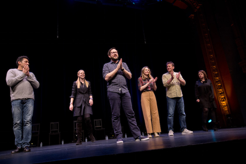 Oscar Nunez, Janet Varney, Cole Stratton, Jessica Makinson, Michael Hitchcock and Rachel Dratch at Theme Park at SF Sketchfest, January 28, 2017. Photo by Tommy Lau.