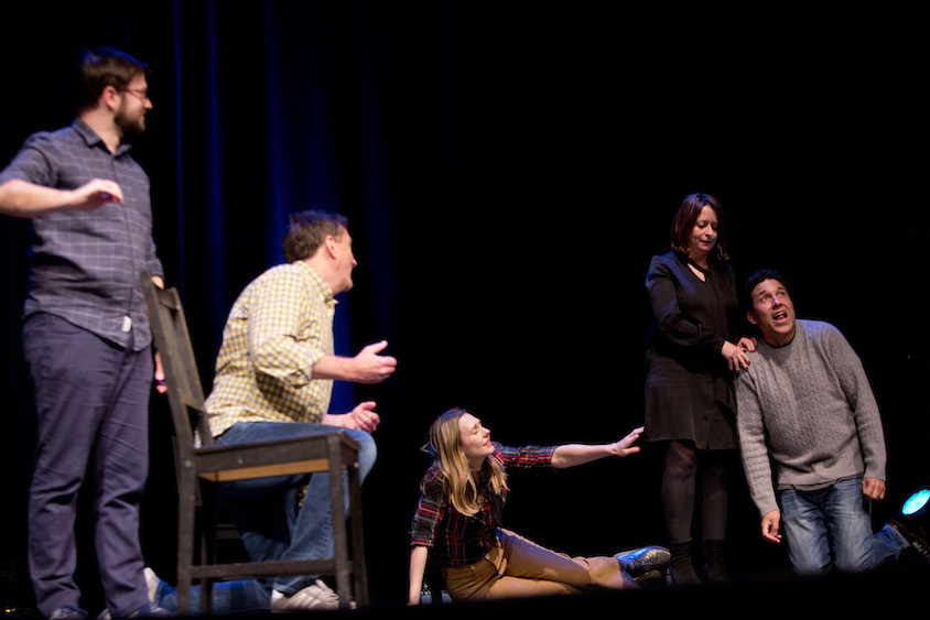 Cole Stratton, Michael Hitchcock, Jessica Makinson, Rachel Dratch and Oscar Nunez at Theme Park at SF Sketchfest, January 28, 2017. Photo by Tommy Lau.