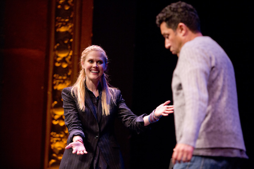 Janet Varney and Oscar Nunez at Theme Park at SF Sketchfest, January 28, 2017. Photo by Tommy Lau.