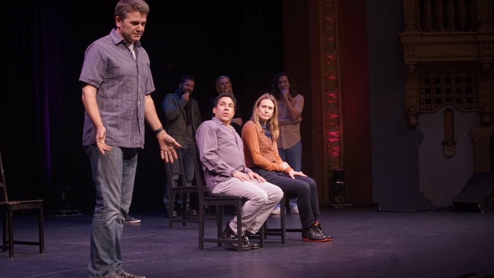 John Michael Higgins, Oscar Nunez and Jessica Makinson at Theme Park Improv at SF Sketchfest, January 16, 2016. Photo by Steve Agee.