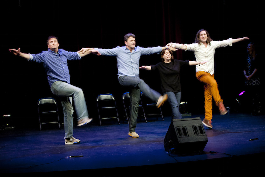 Michael Hitchcock, John Michael Higgins, Rachel Dratch and Ian Brennan at Theme Park Improv at SF Sketchfest, February 7, 2014. Photo by Tommy Lau.