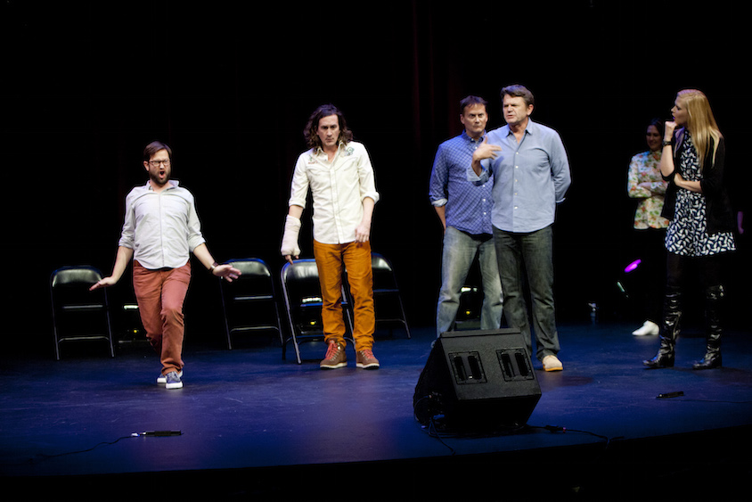 Cole Stratton, Ian Brennan, Michael Hitchcock, John Michael Higgins, Jessica Makinson and Janet Varney at Theme Park Improv at SF Sketchfest, February 7, 2014. Photo by Tommy Lau.