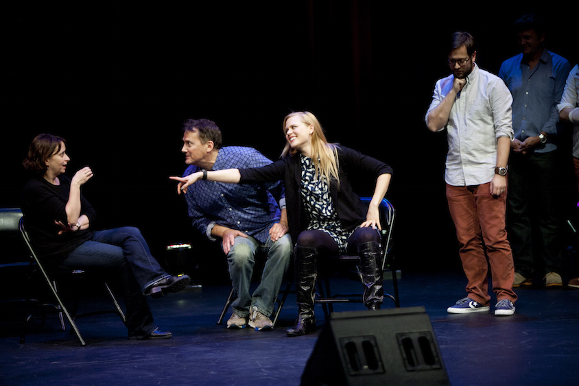 Rachel Dratch, Michael Hitchcock, Janet Varney and Cole Stratton at Theme Park Improv at SF Sketchfest, February 7, 2014. Photo by Tommy Lau.