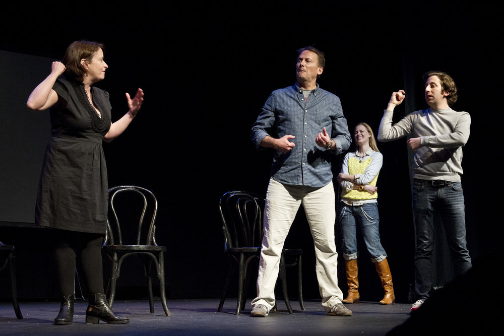 Rachel Dratch, Michael Hitchcock, Janet Varney and Simon Helberg at Theme Park Improv at SF Sketchfest, February 9, 2013. Photo by Jakub Mosur.