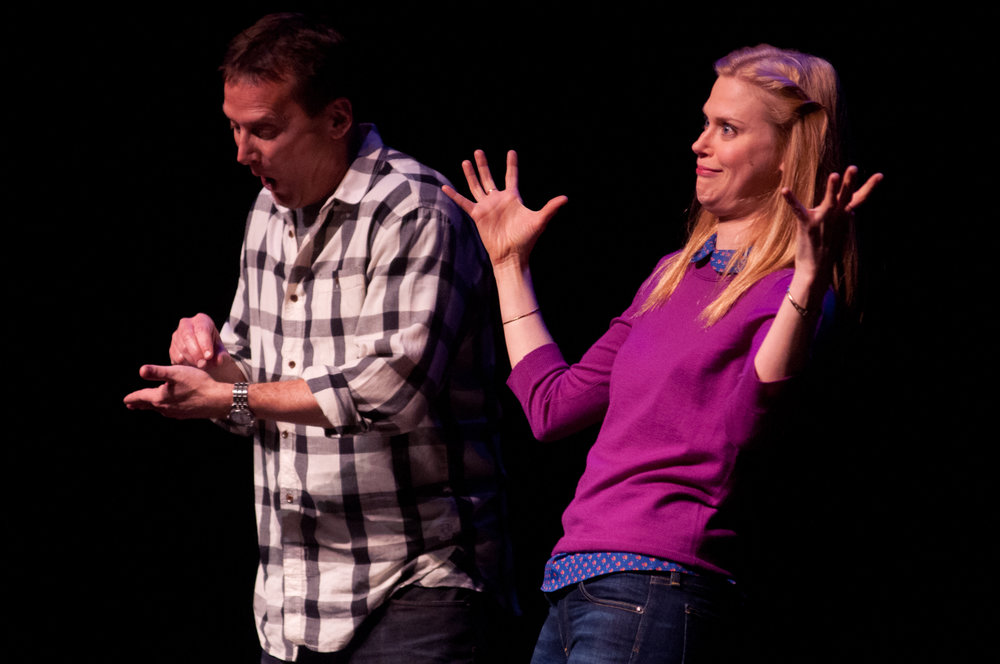 Michael Hitchcock and Janet Varney at Theme Park Improv at SF Sketchfest, February 3, 2012. Photo by Ameen Belbahri.