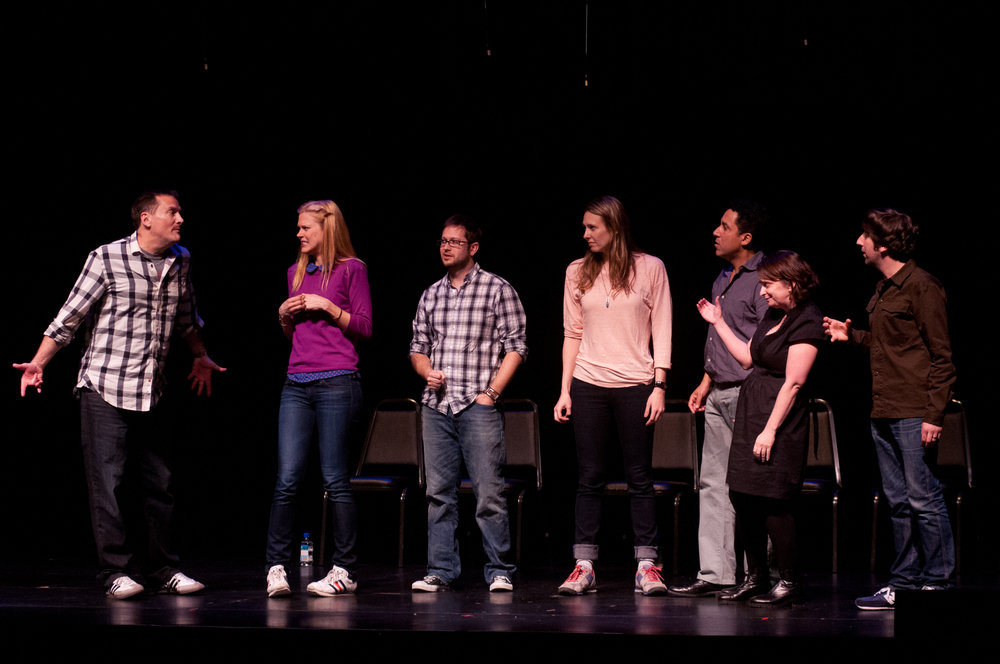 Michael Hitchcock, Janet Varney, Cole Stratton, Jessica Makinson, Oscar Nunez, Rachel Dratch and Simon Helberg at Theme Park Improv at SF Sketchfest, February 3, 2012. Photo by Ameen Belbahri.