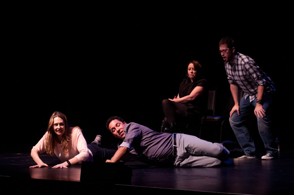 Jessica Makinson, Oscar Nunez, Rachel Dratch and Michael Hitchcock at Theme Park Improv at SF Sketchfest, February 3, 2012. Photo by Ameen Belbahri.