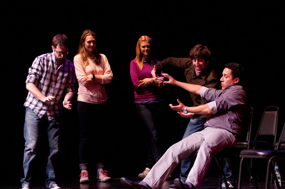 Cole Stratton, Jessica Makinson, Janet Varney, Simon Helberg and Oscar Nunez at Theme Park Improv at SF Sketchfest, February 3, 2012. Photo by Ameen Belbahri.