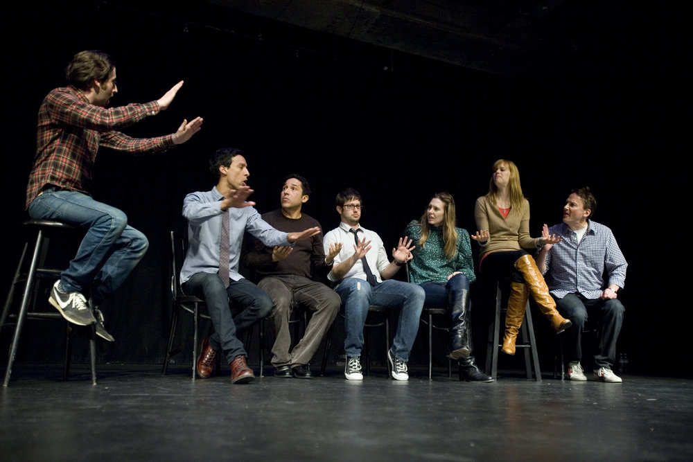 Simon Helberg, Danny Pudi, Oscar Nunez, Cole Stratton, Jessica Makinson, Janet Varney and Michael Hitchcock at Theme Park Improv at SF Sketchfest, January 23, 2011. Photo by Tommy Lau.