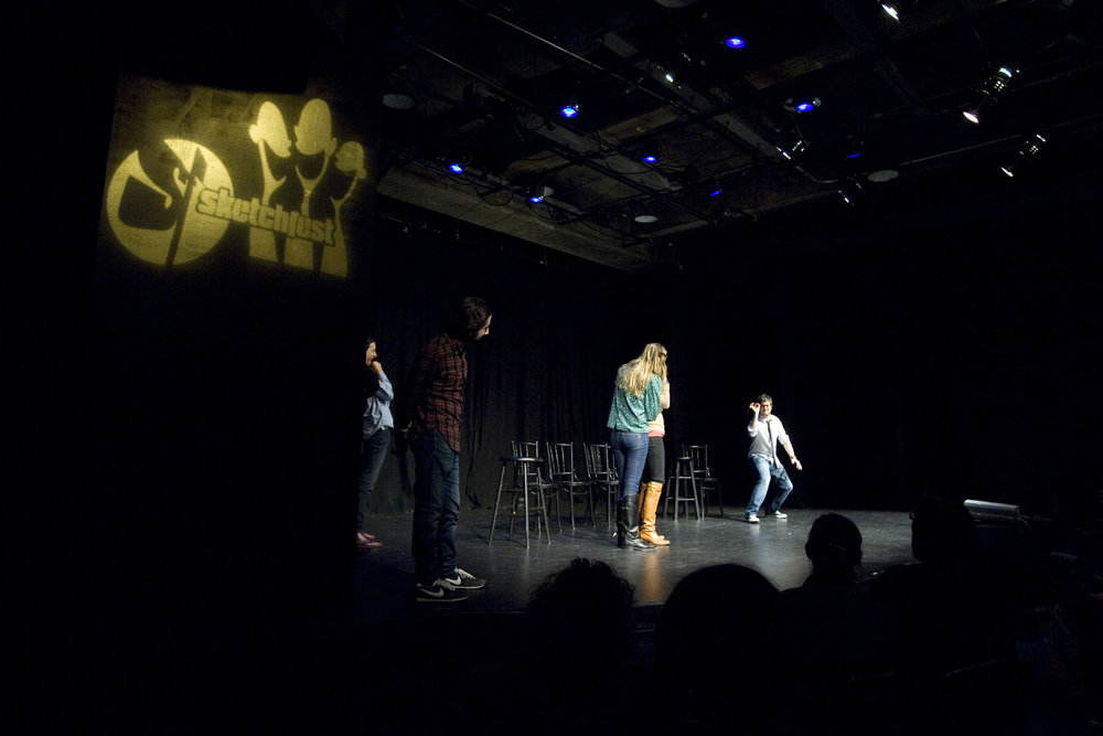 Danny Pudi, Simon Helberg, Janet Varney, Jessica Makinson and Cole Stratton at Theme Park Improv at SF Sketchfest, January 23, 2011. Photo by Tommy Lau.