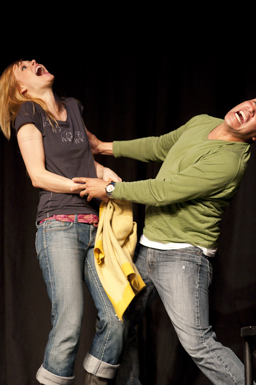 Janet Varney and Oscar Nunez at Theme Park Improv at SF Sketchfest, January 29, 2010. Photo by Ameen Belbahri.