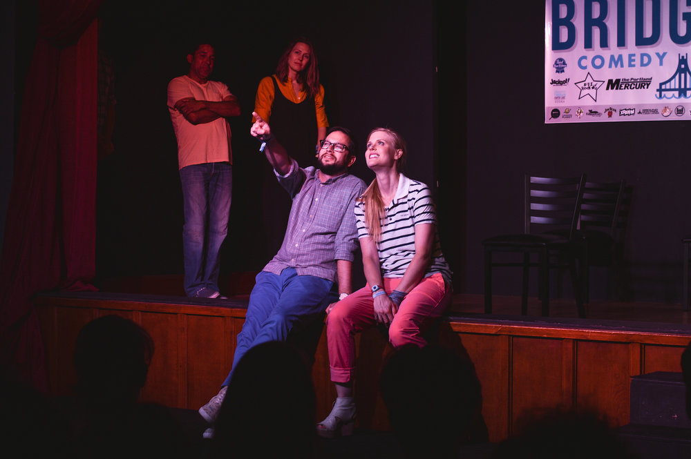 Oscar Nunez, Jessica Makinson, Cole Stratton and Janet Varney at Theme Park at Bridgetown Comedy Festival, June 4, 2016. Photo by Deira Bowie.
