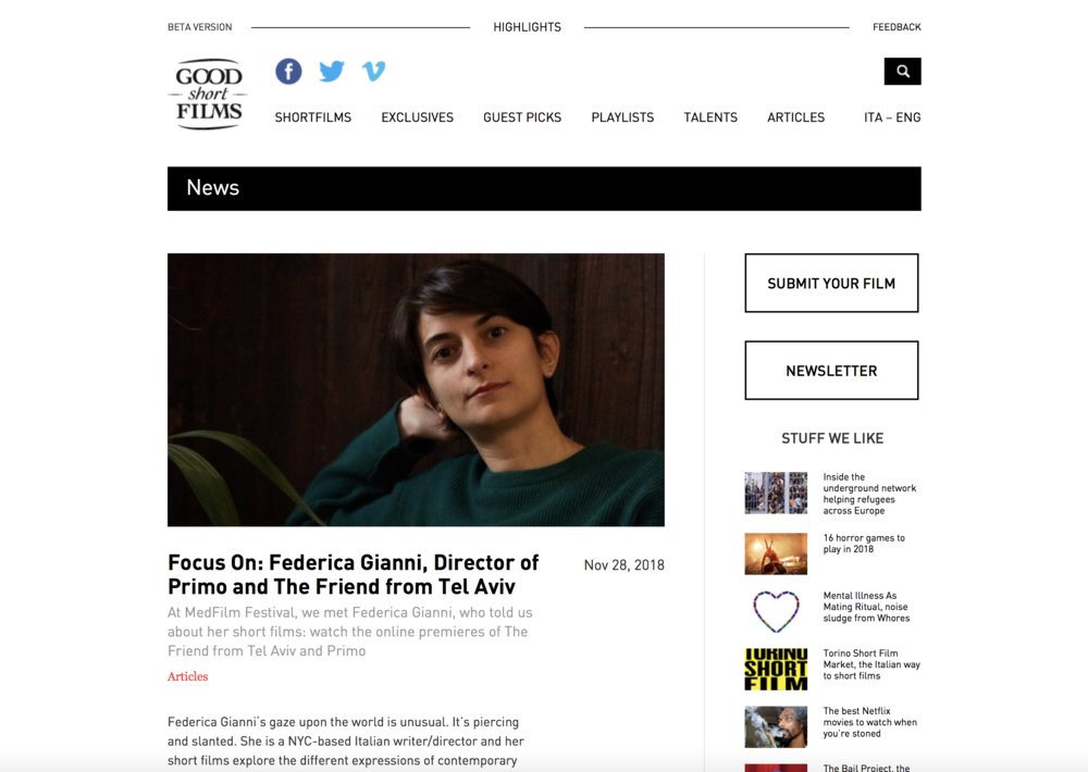 WATCH THE FRIEND FROM TEL AVIV ON GOODSHORT FILMS - After a great festival run and winning a DGA Award The Friend from Tel Aviv (2015) is being released on Good Short Films, the first Italian platform entirely dedicated to showcasing a curated selection of the best short films out there.WATCH IT HERE:https://vimeo.com/128636052READ THE ARTICLE:http://www.goodshortfilms.it/en/articles/focus-on-federica-gianni-primo-the-friend-from-tel-aviv