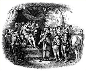 An engraved 19th century illustration of King John signing the Magna Carta