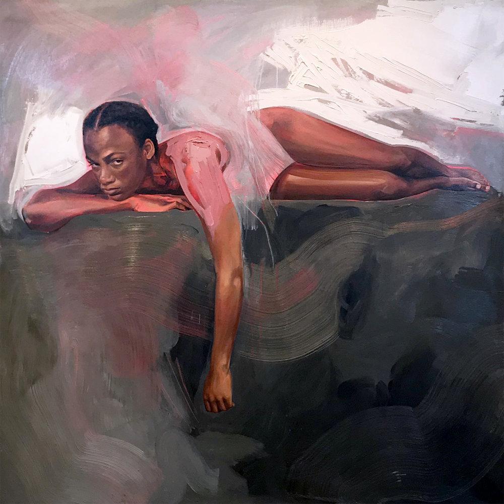 Karen Klassen , I Am Not Here For Your Amusement, acrylic & oil on panel, 60 x 60 in.