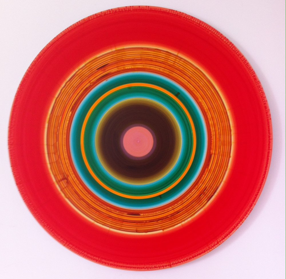 Ulrich Panzer, untitled No. 5-41, acrylic & ink on mylar, mounted on aluminum, 41 in. diameter