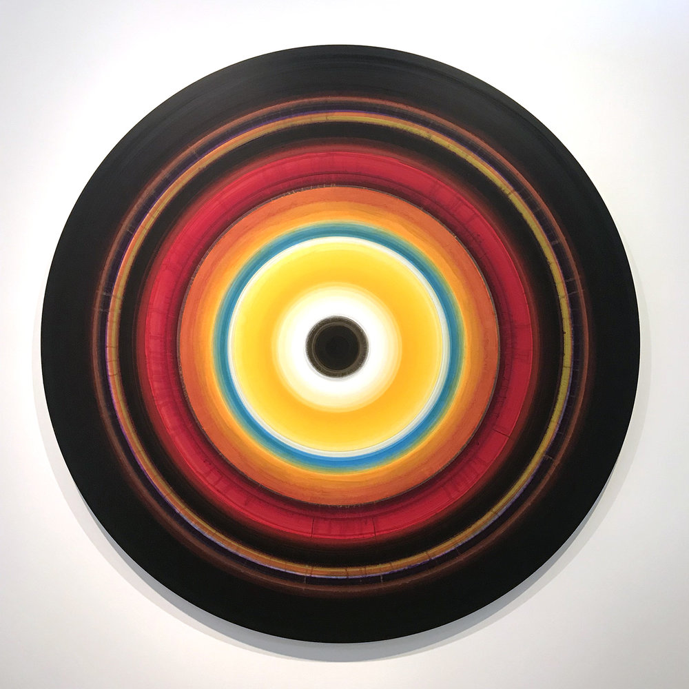 Ulrich Panzer, untitled (18-60-3), acrylic on aluminum, 60 in. diameter